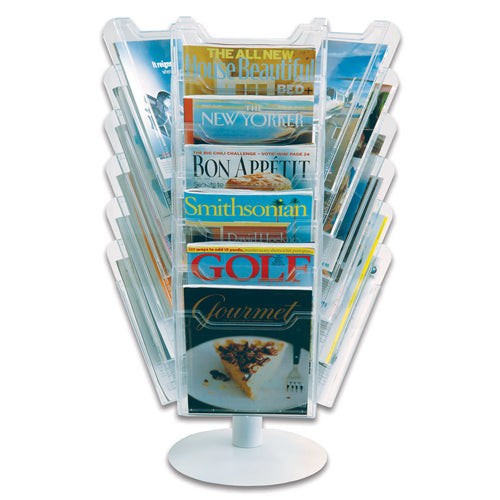 18-Pocket Revolving Countertop Literature Display, Clear
