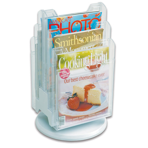 6-Pocket Revolving Countertop Literature Display, Clear