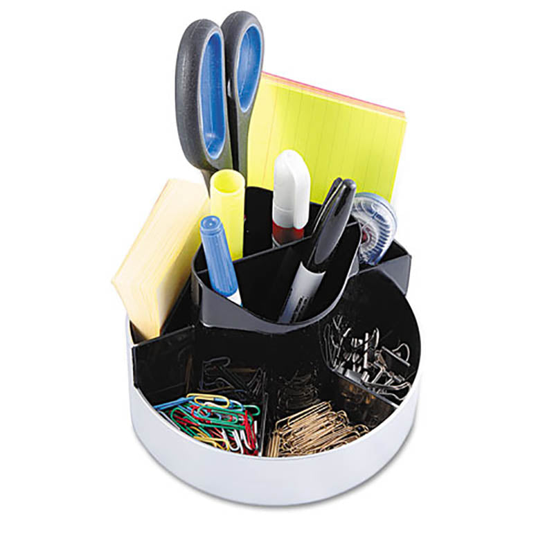 "Rotating Desk Organizer, 6"" diameter x 4 1/2""h, Black w/ Silver"