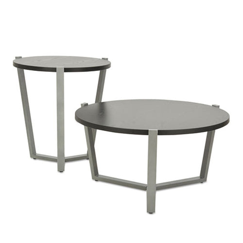 Round Occasional Table, Black w/ Silver