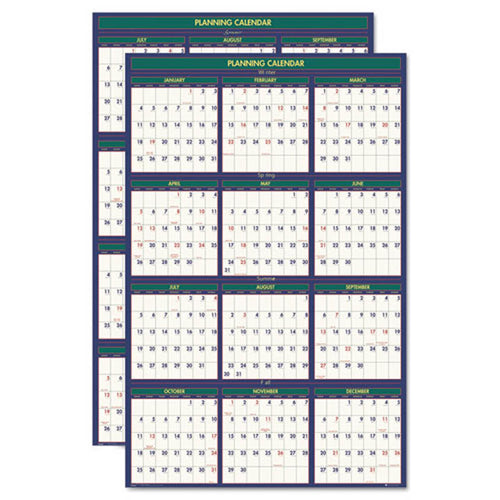 "4 Seasons Reversible/Erasable Business/Academic Calendar, 24"" X 37"", 2018-2019"
