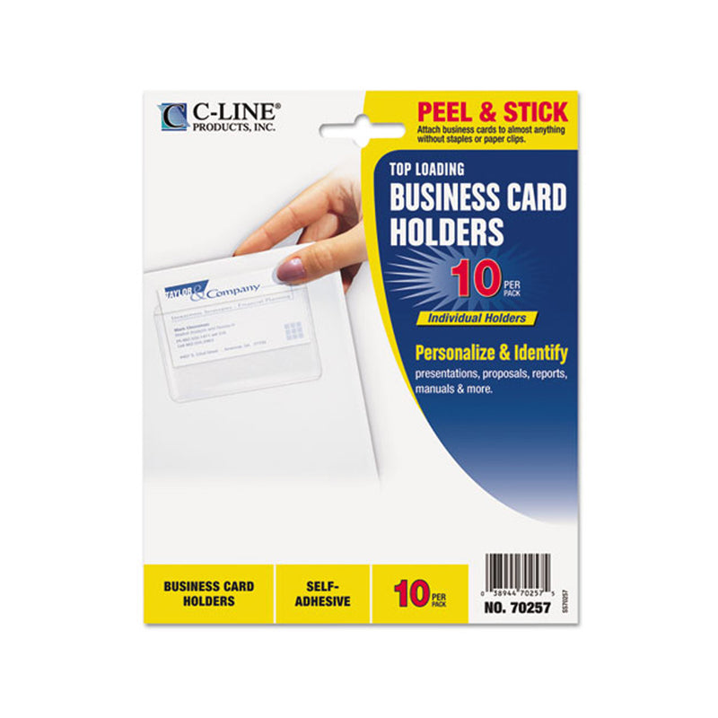 Self Adhesive Business Card Holders Clear Ultimate Office