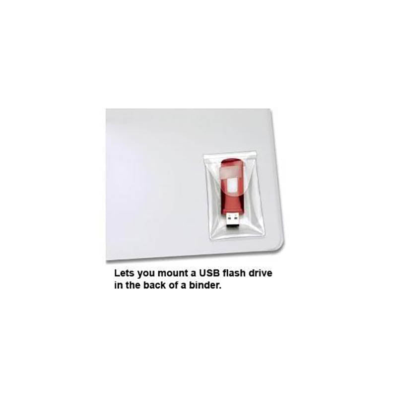 "Self-Adhesive USB Drive Pocket w/ resealable Flap, 3 7/16"" x 2"", Clear (Pack of 6)"