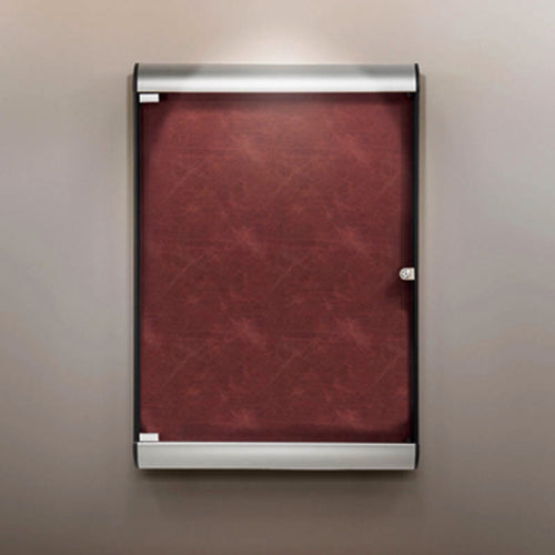 "Silhouette 27 3/4"" x 42 1/8"" 1-Door Enclosed Bulletin Board w/ Flair Fabric"