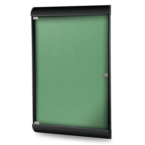 "Silhouette 27 3/4"" x 42 1/8"" 1-Door Enclosed Bulletin Board, w/ Vinyl Fabric"