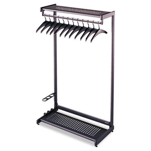 Single-Sided Garment Rack w/Hat & Boot Shelves, Umbrella Holder & Hangers, Black