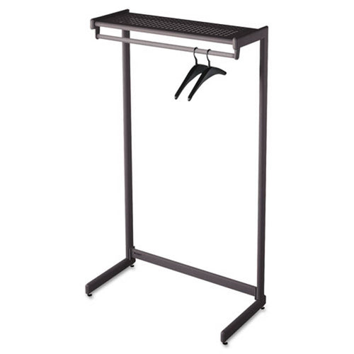 Single-Sided Garment Rack w/Hat Shelf, Black