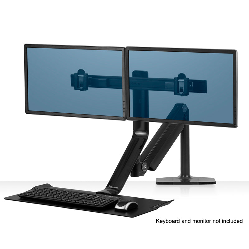 Rear-Mount Sit/Stand Workstation, Black