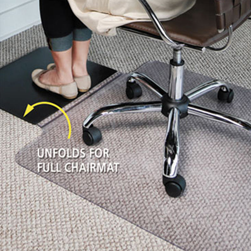 Sit or Stand Mat for Carpeting or Hard Floors, Clear w/ Black