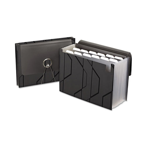 "Sliding Cover Expanding File, 4"" Expansion, 13 Pockets, Letter, Black"