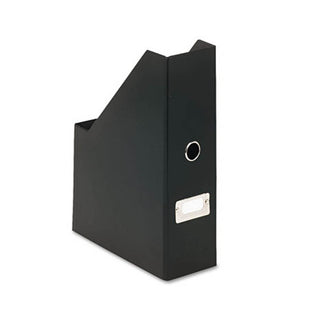 Snap-Together Heavy-Duty Fiberboard Magazine File w/ PVC Laminate, Black