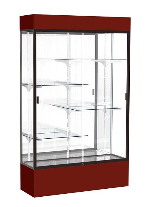 "Spirit 48""w x 72""h x 16""d Floor Display Case with Lighted Cornice"