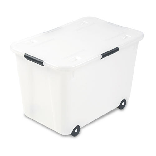 "Stackable 15-Gallon Rolling Storage Box, 23 3/4""w x 15 3/4""d x 15 3/4""h, Letter/legal,"