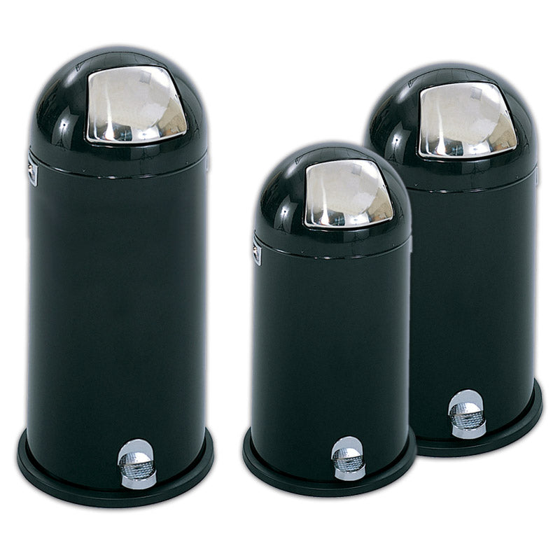 Step-On Dome Trash Can, Black