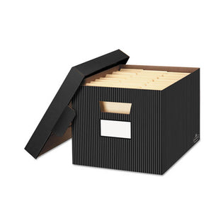 "Stor/File Decorative Medium-Duty Storage Boxes, Letter/Legal, 12""w x 15""d x 10""h (set of 4)"
