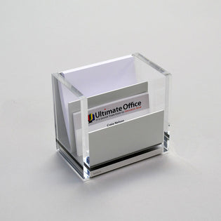 Aluminum & Acrylic Note Pad/Business Card Holder