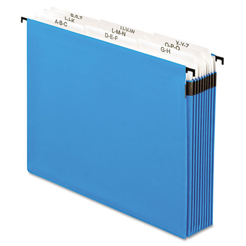 "SureHook 9-Section Expanding Hanging File Pockets, 5 1/4"" Capacity, 3rd-Cut, Letter (each), Blue"