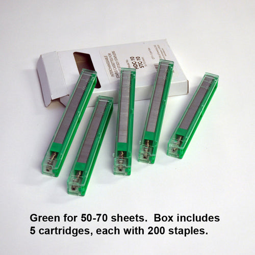 Green 50-70 sheets (5 cartridges, 200 staples each)