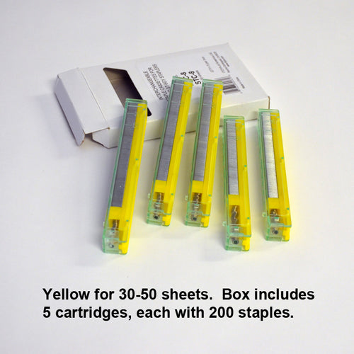 Yellow 30-50 sheets (5 cartridges, 200 staples each)