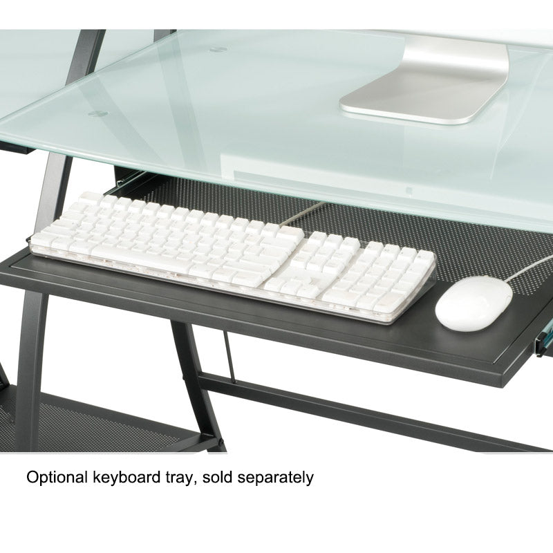 "Tempered Glass Computer Desk, 47""W x 37""H x 23""D"