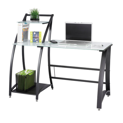 "Tempered Glass Computer Desk w/ Side Shelves, 53 1/4""W x 23 1/4""D"