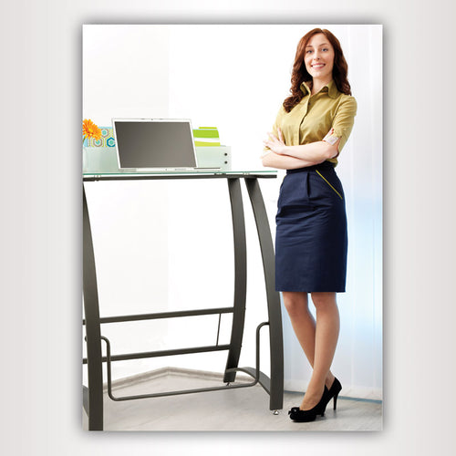 "Tempered Glass Stand-Up Computer Desk, 25""W x 49""H x 23""D"