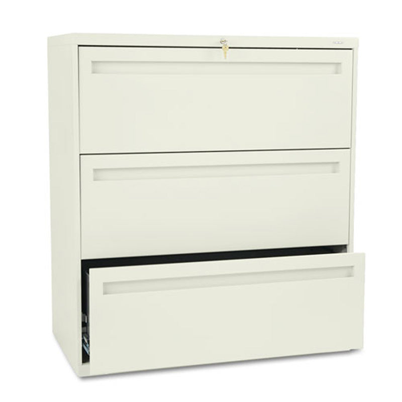 "Three-Drawer Heavy-Duty Lateral File Cabinet, 36""w x 19 1/4""d x 40 7/8""h"