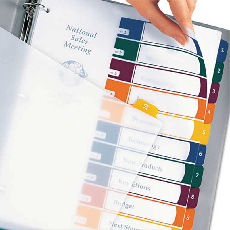 Translucent Ready Index Table of Contents Dividers w/ Multicolor Tabs, 10-Tab, Letter (set of 10)