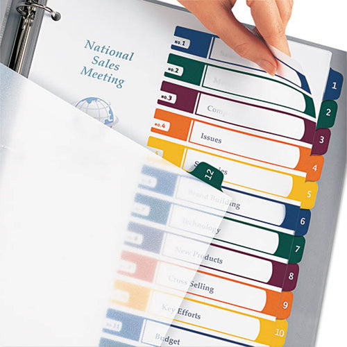 Translucent Ready Index Table of Contents Dividers w/ Multicolor Tabs, 12-Tab, Letter (set of 12)