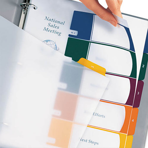 Translucent Ready Index Table of Contents Dividers w/ Multicolor Tabs, 5-Tab, Letter (set of 5)