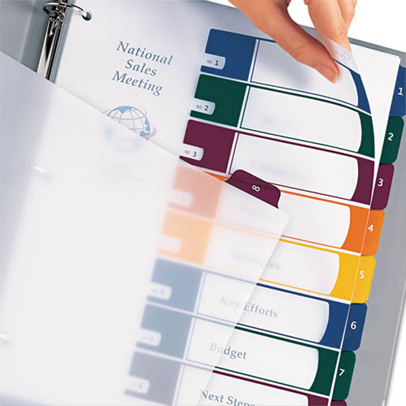 Translucent Ready Index Table of Contents Dividers w/ Multicolor Tabs, 8-Tab, Letter (set of 8)