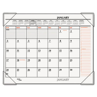 "Two-Color Monthly Desk Pad Calendar, 22"" X 17"", 2021"