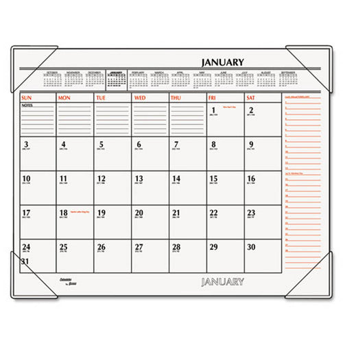 "Two-Color Monthly Desk Pad Calendar, 22"" X 17"", 2019"