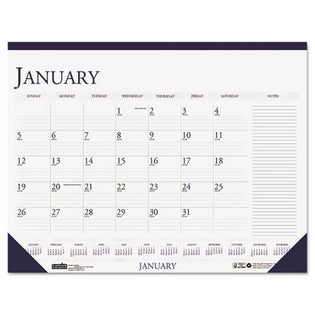 Two-Color Monthly Desk Pad Calendar w/Large Notes Section, 2021