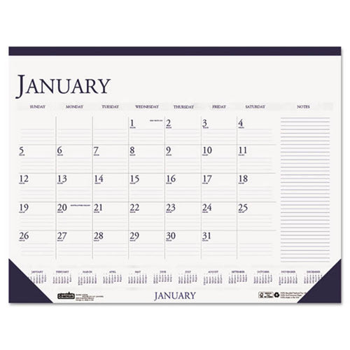 Two-Color Monthly Desk Pad Calendar w/Large Notes Section, 2019