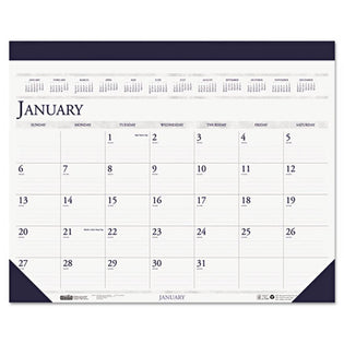 Two-Color Monthly Desk Pad Calendar, 2021