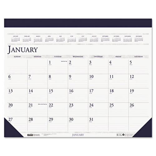 Two-Color Monthly Desk Pad Calendar, 2019