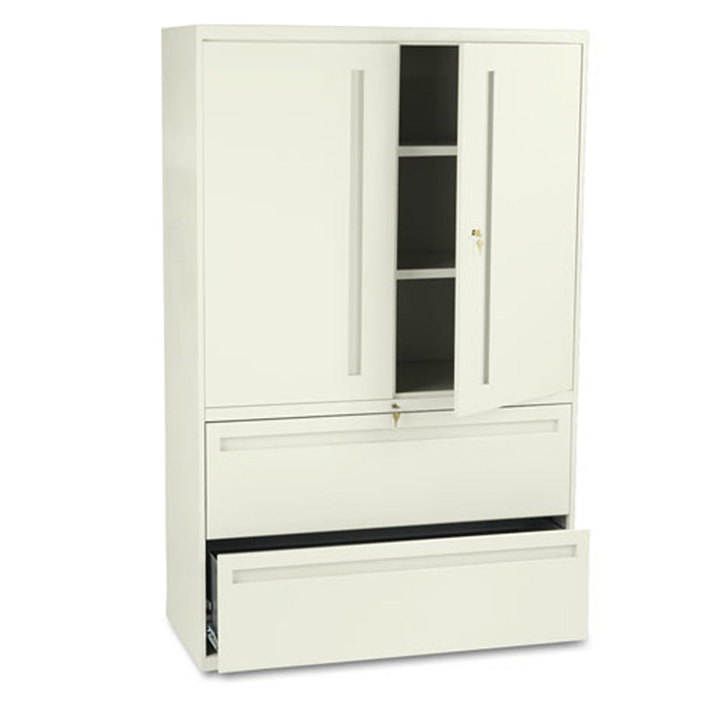"Two-Drawer Lateral File w/ Storage Cabinet, 42""w x 19 1/4""d x 67""h"