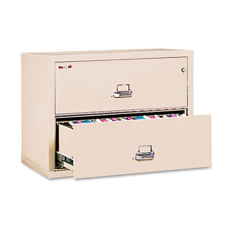 Two Drawer Letter/Legal Insulated Lateral File Cabinet, Parchment