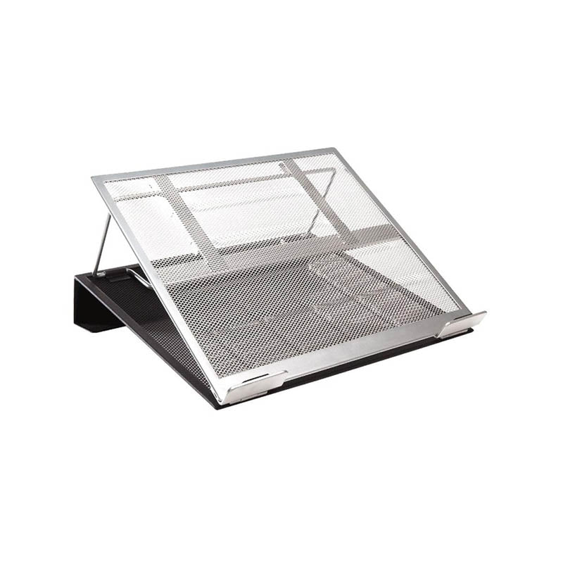 "Two-Tone Mesh Laptop Stand, 13""w x 11 1/8""d x 3 1/2""h, Black w/Silver"