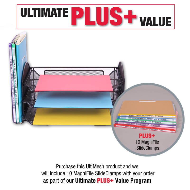UltiMesh 1 Vertical Section & 3 Pull-Out Letter Trays PLUS+ 10 MagniFile® SlideClamps