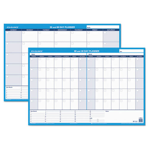 30/60-Day Undated Horizontal Erasable Wall Planner, White/Blue