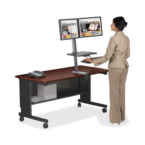 Up-Rite Desk Mounted Sit/Stand Workstation, Double, Dark Gray