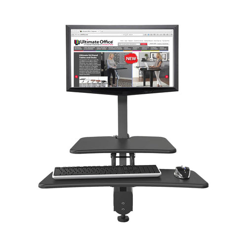 Up-Rite Desk Mounted Sit/Stand Workstation, Single, Dark Gray