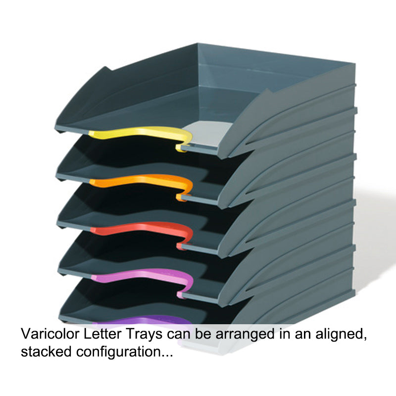 Varicolor Adjustable Letter Trays (set of 5), Charcoal w/ Assorted