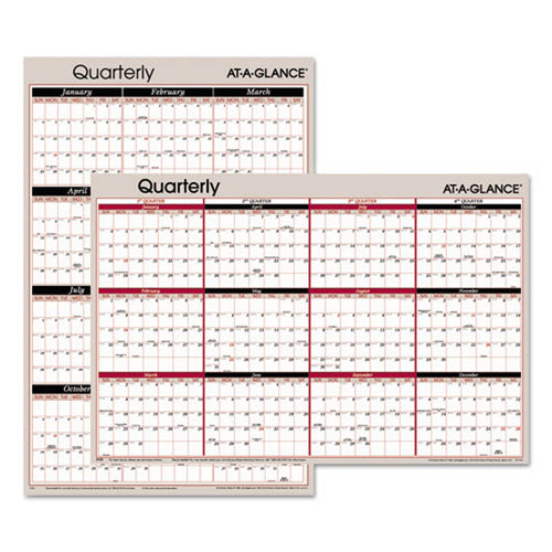 "Vertical/Horizontal Erasable Quarterly Wall Planner, 24"" X 36"", 2019"