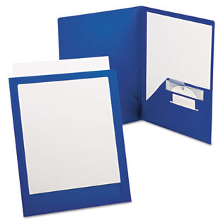 ViewFolio Plus Poly Twin-Pocket Folders, Letter, Each, Clear w/ Blue