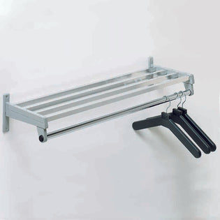 Wall Coat Rack w/Anodized Aluminum Shelf Bars