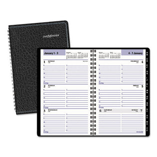 "Weekly Appointment Book with Telephone/address Section, 4 7/8"" X 8"", Black, 2021"