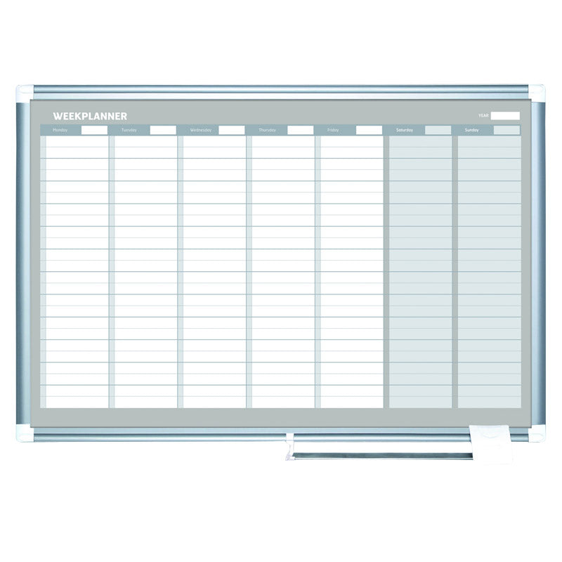 "Weekly Planner, Aluminum Frame, 36"" x 24"""